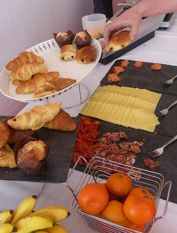An assortment of pastries, cheese and ham at Fayre Do's catering London Marathon