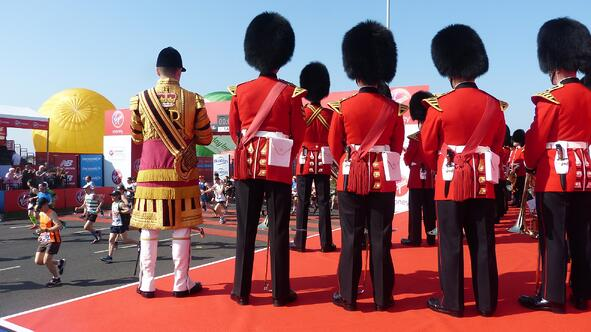 The Queens Guards at the London Marathon