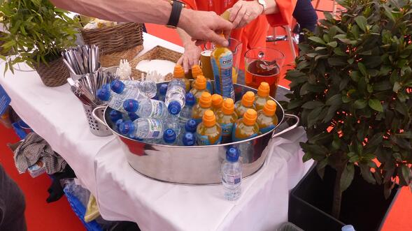 An ice bucket of water and Lucozade at Fayre Do's catering