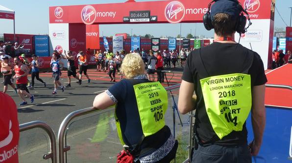 BBC Sport film crew on start line of London Marathon 2018 with Fayre Do's